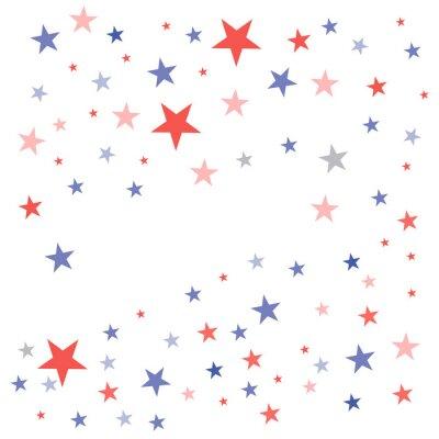 Adesivo Il fondo patriottico degli Stati Uniti nei colori della bandiera con le stelle smussate sbiadite ha sparso su un fondo bianco