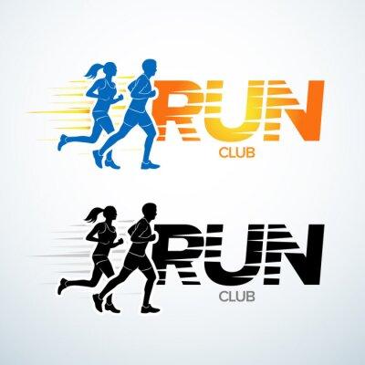 Adesivo il marchio della mascherina club gestito. modello logo Sport, club sportivo, in esecuzione club e vettore di fitness modello di progettazione logo. L'uomo e la donna di forma fisica.