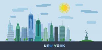 Adesivo Il paesaggio di grattacieli di New York City con la statua della libertà. Vector piatta illustrazione.