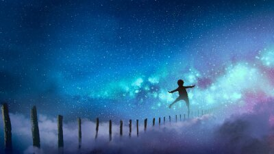 Adesivo il ragazzo che equilibra sui bastoni di legno contro la Via Lattea con molte stelle, stile d'arte digitale, pittura illustrativa