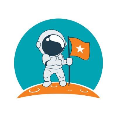 Adesivo Il successo Astronaut poco sulla Luna Mission fumetto