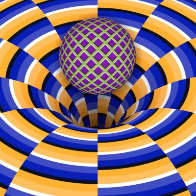 Adesivo illusione ottica della palla sta cadendo in un buco. Abstract background.