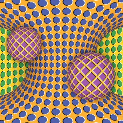 Adesivo illusione ottica di rotazione di due sfere intorno di un iperboloide movimento. Abstract background.