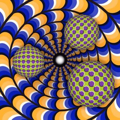 Adesivo illusione ottica di rotazione di tre sfere intorno di un foro in movimento. Abstract background.