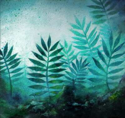 Adesivo Illustration of a tropical forest landscape with plants in acrylic painting