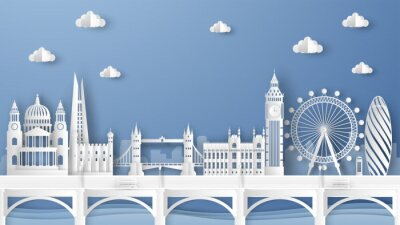 Adesivo Illustration of city scene with famous architectures in London, England. Elements of London city, England. London city scene of England. paper cut and craft style. vector, illustration.