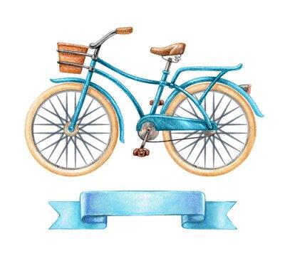Adesivo Illustrazione acquerello, bicicletta blu, retro bici, tag nastro vuoto, banner, etichetta, trasporto clip art isolato su sfondo bianco