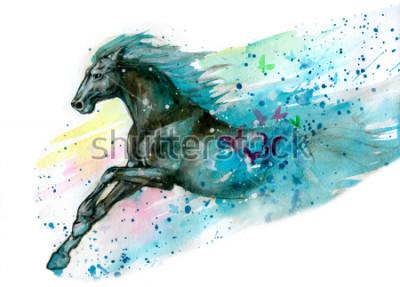 Adesivo Illustrazione ad acquerello di cavallo. Disegnato a mano