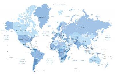 Adesivo Illustrazione colorata di una mappa del mondo con nomi di paesi, nomi di stati (USA e Australia), capitali, laghi e oceani. Stampa a non meno di 36