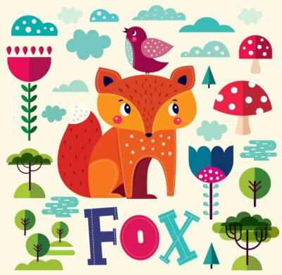 Adesivo Illustrazione con Fox e altri elementi