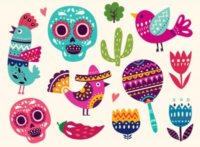 Adesivo Illustrazione con i simboli del Messico