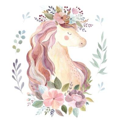Adesivo Illustrazione d'epoca con unicorno carino e corona floreale