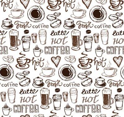 Adesivo Illustrazione del caffè doodle disegnato a mano