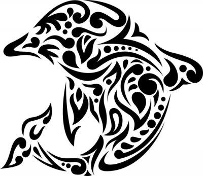 Adesivo illustrazione del delfino arte del tatuaggio