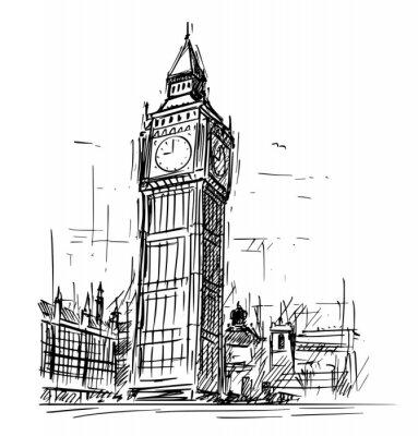 Adesivo Illustrazione del disegno di schizzo del fumetto di Westminster Palace, torre di orologio di Big Ben Elizabeth a Londra, Inghilterra, Regno Unito.