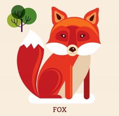 Adesivo Illustrazione del fumetto con cute volpe