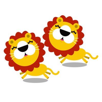 Adesivo illustrazione del fumetto leoni carino