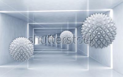 Adesivo Illustrazione del modello 3D della palla del crystall sulla carta da parati d'argento decorativa del fondo 3D. Grafica moderna