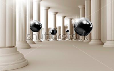 Adesivo Illustrazione del modello 3D palla nera su sfondo decorativo sfondo 3D. Grafica moderna