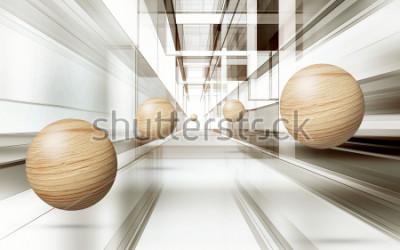 Adesivo Illustrazione del modello di sfera marrone 3D su sfondo decorativo sfondo 3D. Grafica moderna
