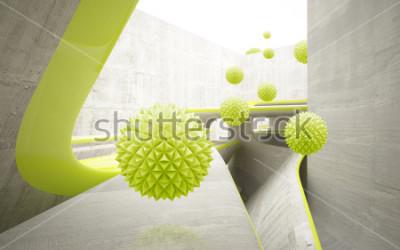 Adesivo Illustrazione del modello verde della sfera del crystall 3D sulla carta da parati decorativa della priorità bassa 3D. Grafica moderna