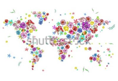 Adesivo Illustrazione dell'acquerello della mappa del mondo in fiori