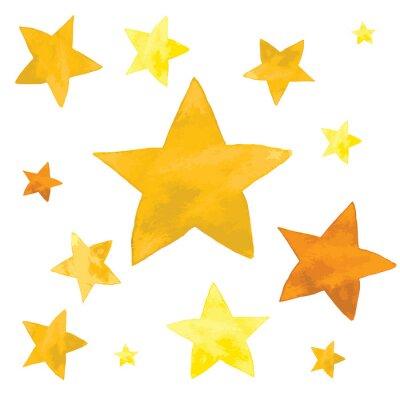 Adesivo Illustrazione dell'acquerello di set di stelle gialle