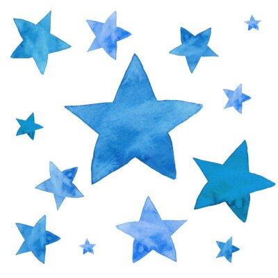 Adesivo Illustrazione dell'acquerello di stelle blu impostato