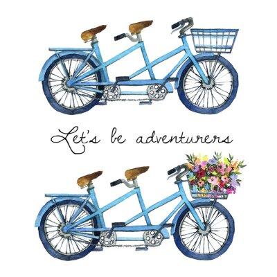 Adesivo Illustrazione dell'acquerello di un tandem biciclette