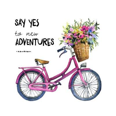 Adesivo Illustrazione dell'acquerello di una bicicletta con i fiori