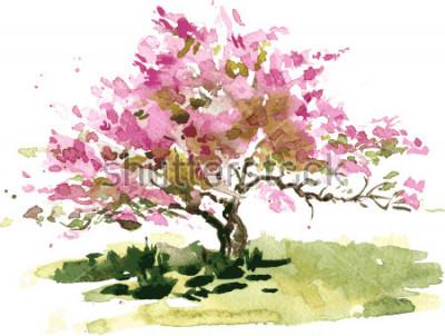 Adesivo illustrazione dell'albero del fiore di ciliegia dall'acquerello, schizzo dell'acquerello dei fiori di fioritura della mela, giardino di pittura, fondo disegnato a mano di arte di vettore