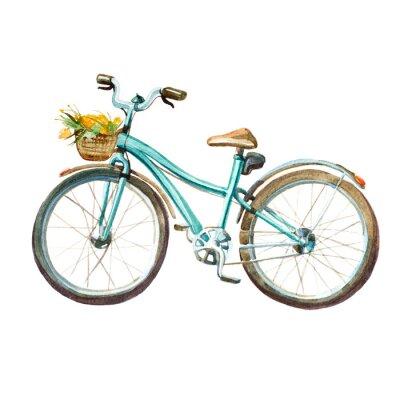 Adesivo Illustrazione di acquerello. Bicicletta di menta della ragazza con il cestino pieno di fiori gialli.