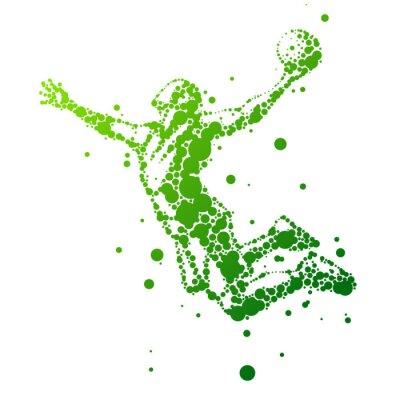 Adesivo illustrazione di astratto giocatore di basket nel salto
