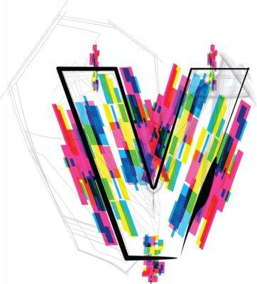 Adesivo Illustrazione di carattere. LETTERA v Vector illustration