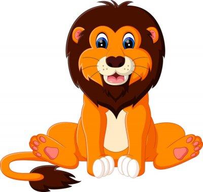 Adesivo illustrazione di cute baby leone cartone animato