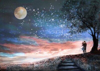 Adesivo Illustrazione di fantasia con il cielo notturno e MilkyWay, stelle luna. Donna e uomo sotto un albero guardando il paesaggio spaziale. Prato floreale e scale. La pittura.