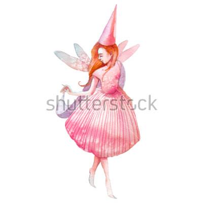 Adesivo Illustrazione di fata dell'acquerello. Carattere di fiaba dipinto a mano isolato su sfondo bianco. Ragazza del fumetto con arte di ali