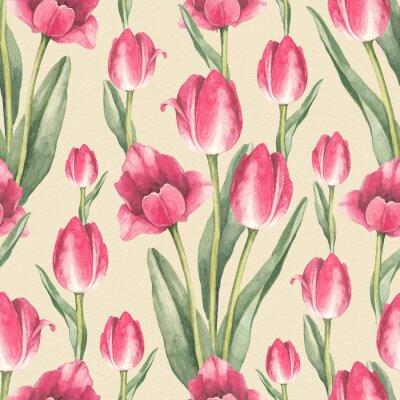 Adesivo Illustrazione di fiori di tulipano. Modello senza soluzione di continuità acquerello
