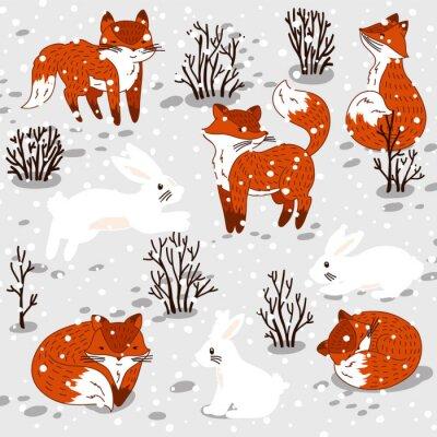 Adesivo Illustrazione di inverno con le volpi carino e coniglio.