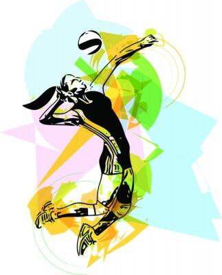 Adesivo Illustrazione di pallavolo giocatore gioco