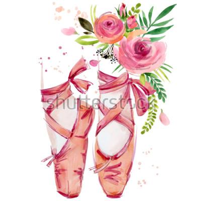 Adesivo illustrazione di scarpe di balletto dell'acquerello