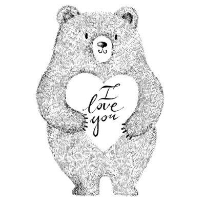 Adesivo Illustrazione di vettore con adorabile simpatico orso