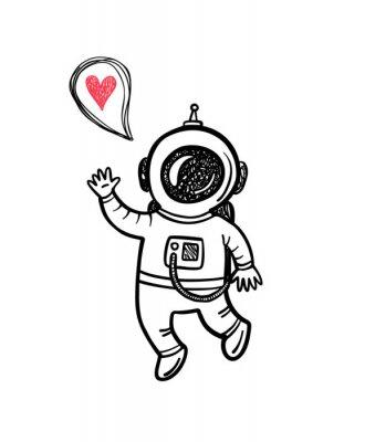 Adesivo Illustrazione di vettore con l'astronauta Doodle