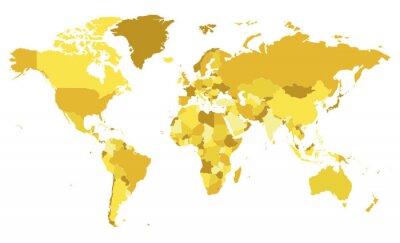 Adesivo Illustrazione di vettore del programma di mondo in bianco politico con differenti toni di giallo per ogni paese. Livelli modificabili e chiaramente etichettati.