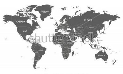 Adesivo Illustrazione di vettore di mappa politica mondiale isolato su priorità bassa bianca.