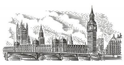 Adesivo Illustrazione di vettore di paesaggio urbano di Londra, stile dell'incisione. Westminster Palace, Westminster Bridge, Elizabeth Tower (Big Ben). Isolato. (Sfondo del cielo in un livello separato).