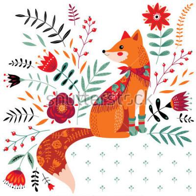 Adesivo illustrazione di volpe disegnata a mano