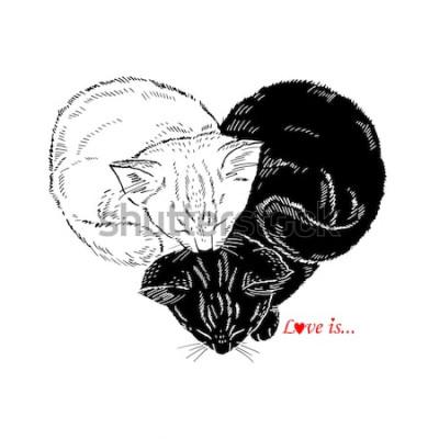 Adesivo Illustrazione disegnata a mano dei gattini in bianco e nero che dormono a forma di cuore, progettazione di Valentin Day, amore