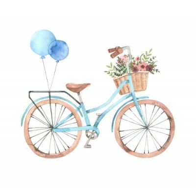 Adesivo Illustrazione disegnata a mano dell'acquerello - bici romantica con cesto di fiori in colori pastello. Bicicletta cittadina Amsterdam. Perfetto per inviti, biglietti di auguri, poster, stampe