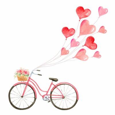 Adesivo Illustrazione felice di vettore dell'acquerello di giorno di biglietti di S. Valentino.